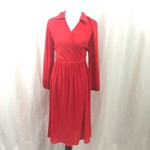 Vintage 70s Hal Ferman Red Pleated Dress L